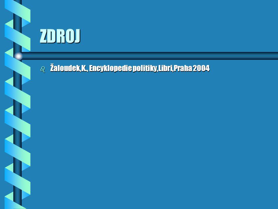 ZDROJ b Žaloudek,K., Encyklopedie politiky,Libri,Praha 2004