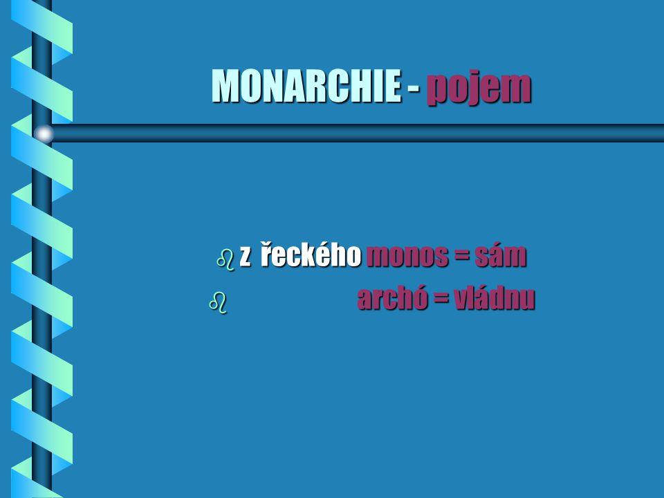 MONARCHIE - pojem b z řeckého monos = sám b archó = vládnu