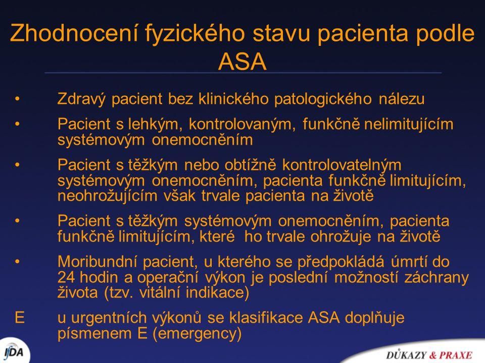 Zhodnocení fyzického stavu pacienta podle ASA Zdravý pacient bez klinického patologického nálezu Pacient s lehkým, kontrolovaným, funkčně nelimitující