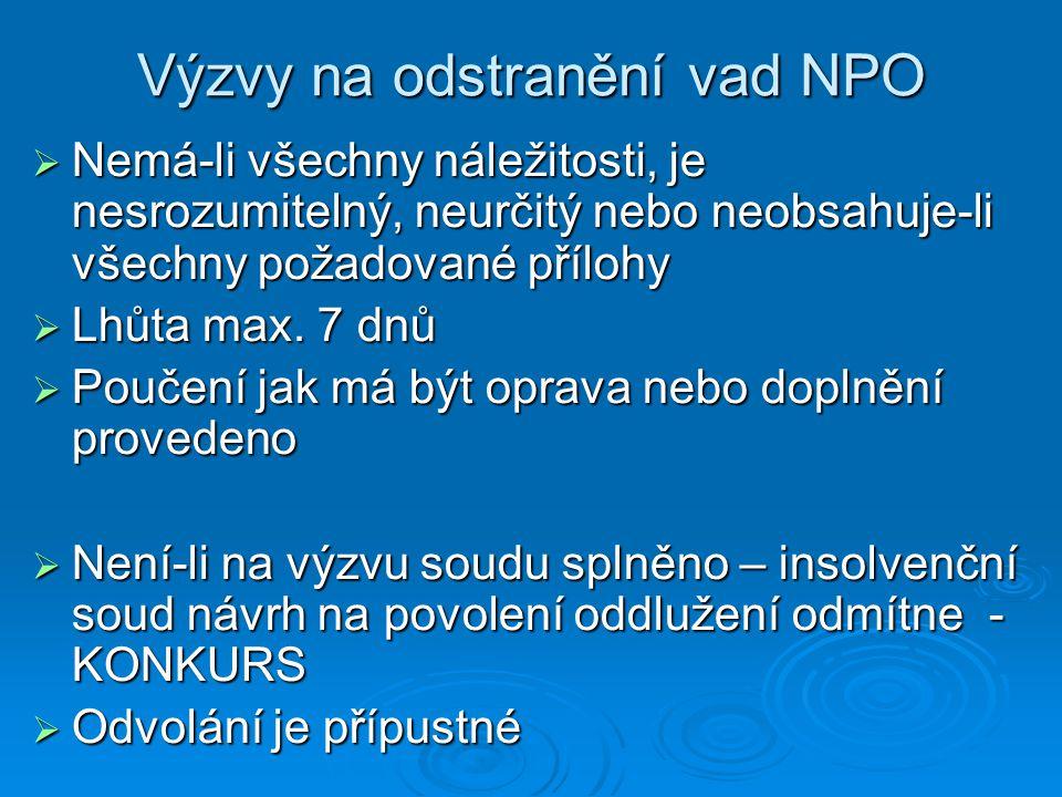 Výzvy na odstranění vad NPO  Nemá-li všechny náležitosti, je nesrozumitelný, neurčitý nebo neobsahuje-li všechny požadované přílohy  Lhůta max. 7 dn