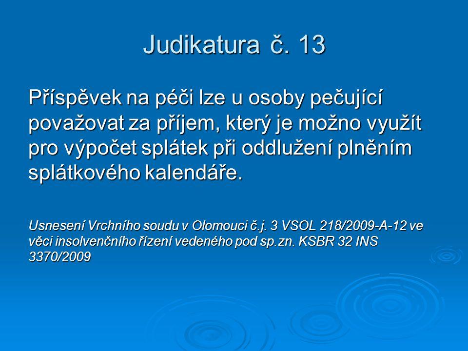 Judikatura č. 13 Příspěvek na péči lze u osoby pečující považovat za příjem, který je možno využít pro výpočet splátek při oddlužení plněním splátkové