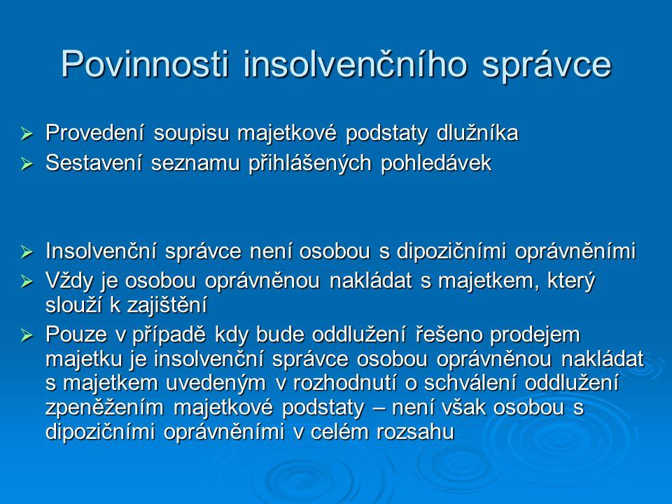 Povinnosti insolvenčního správce  Provedení soupisu majetkové podstaty dlužníka  Sestavení seznamu přihlášených pohledávek  Insolvenční správce nen