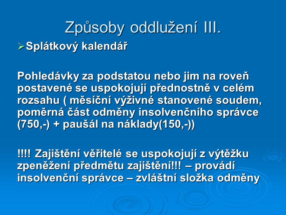 Způsoby oddlužení III.  Splátkový kalendář Pohledávky za podstatou nebo jim na roveň postavené se uspokojují přednostně v celém rozsahu ( měsíční výž