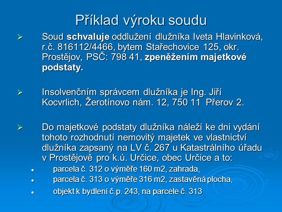 Příklad výroku soudu  Soud schvaluje oddlužení dlužníka Iveta Hlavinková, r.č. 816112/4466, bytem Stařechovice 125, okr. Prostějov, PSČ: 798 41, zpen