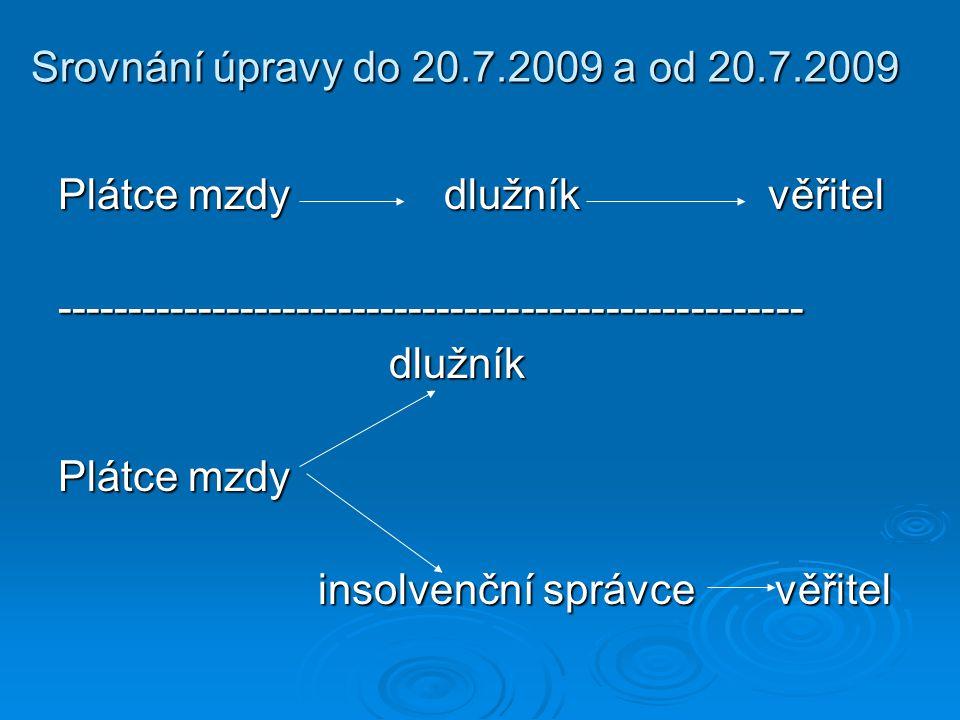 Srovnání úpravy do 20.7.2009 a od 20.7.2009 Plátce mzdy dlužník věřitel ----------------------------------------------------- dlužník dlužník Plátce m