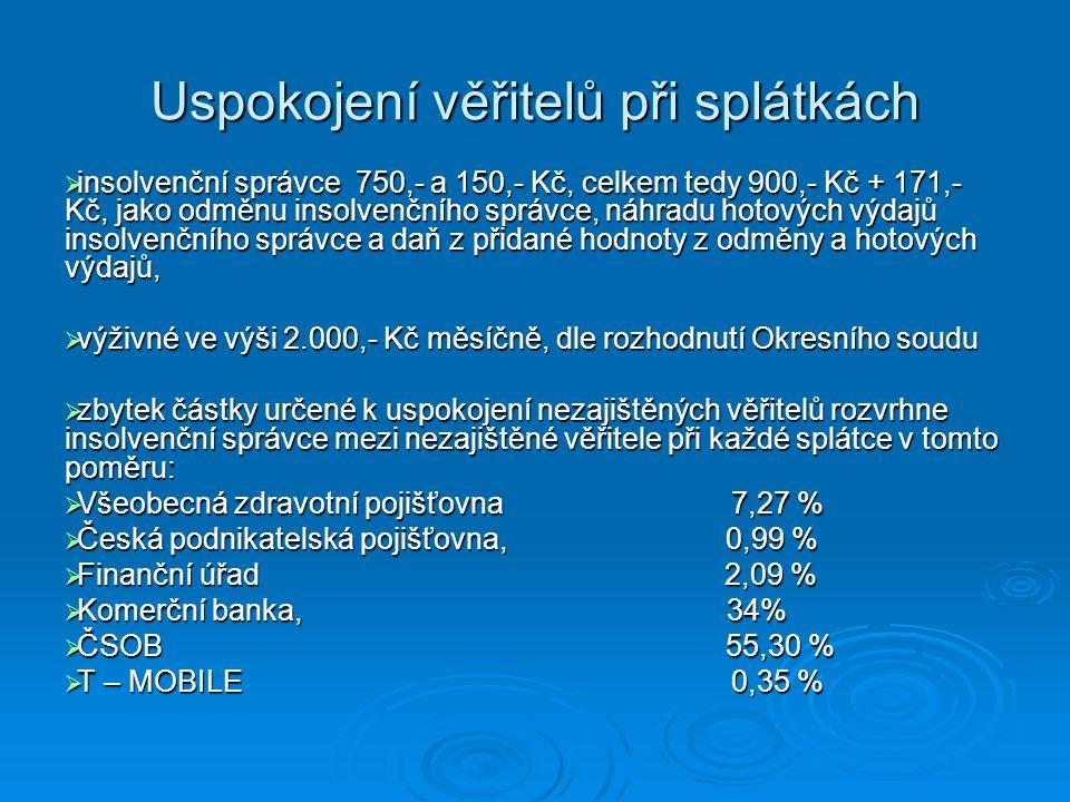 Uspokojení věřitelů při splátkách  insolvenční správce 750,- a 150,- Kč, celkem tedy 900,- Kč + 171,- Kč, jako odměnu insolvenčního správce, náhradu