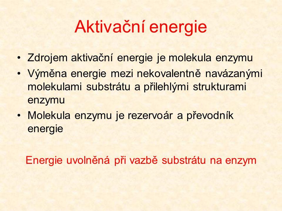 Enzymová reakce probíhá uvnitř aktivního centra Snížení aktivační energie při enzymové katalýze je způsobeno několika faktory:  Vazba reagujících sub