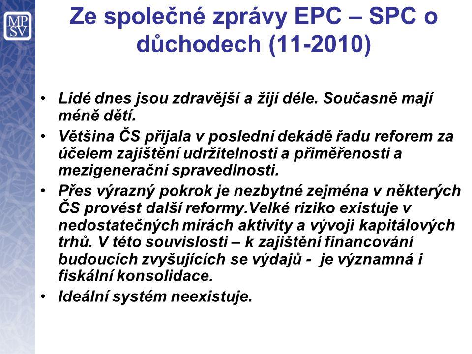 Ze společné zprávy EPC – SPC o důchodech (11-2010) Lidé dnes jsou zdravější a žijí déle. Současně mají méně dětí. Většina ČS přijala v poslední dekádě