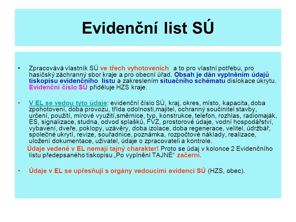 Evidenční list SÚ Zpracovává vlastník SÚ ve třech vyhotoveních a to pro vlastní potřebu, pro hasičský záchranný sbor kraje a pro obecní úřad.