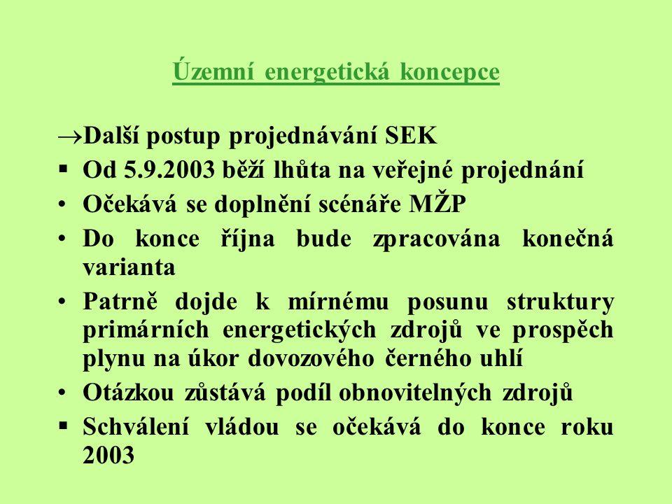 Územní energetická koncepce  Další postup projednávání SEK  Od 5.9.2003 běží lhůta na veřejné projednání Očekává se doplnění scénáře MŽP Do konce ří