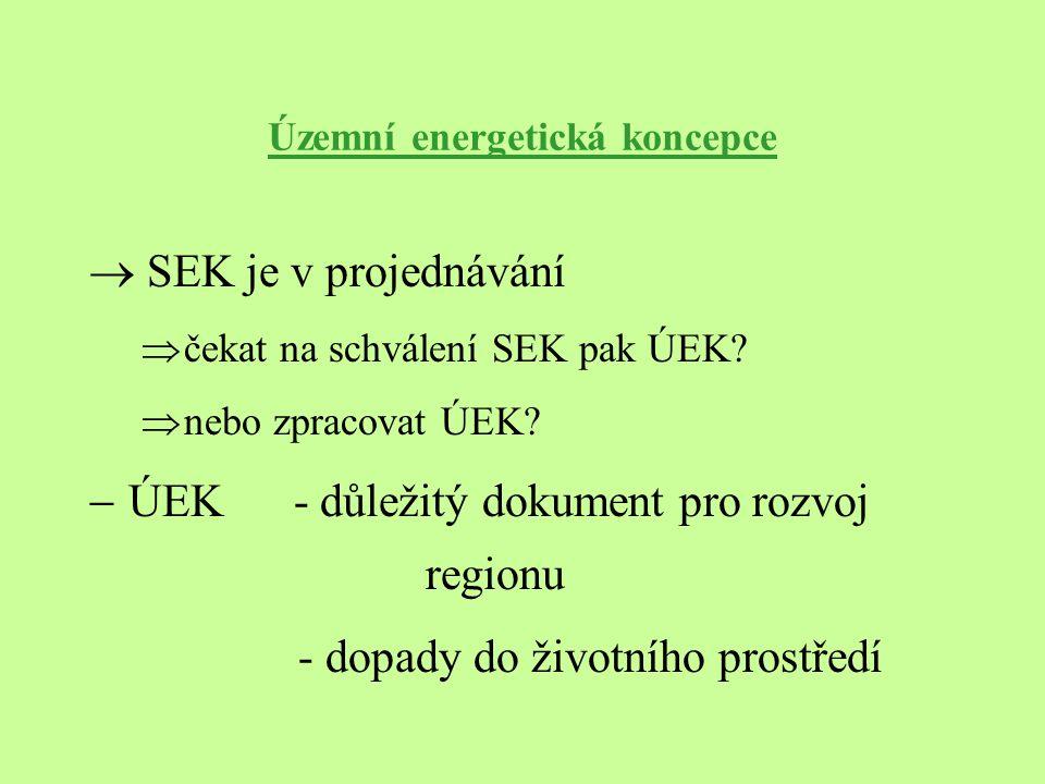 Územní energetická koncepce  SEK je v projednávání  čekat na schválení SEK pak ÚEK?  nebo zpracovat ÚEK?  ÚEK - důležitý dokument pro rozvoj regio
