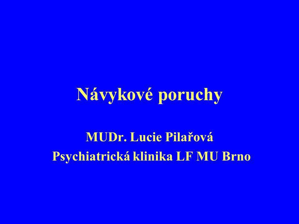 Návykové poruchy MUDr. Lucie Pilařová Psychiatrická klinika LF MU Brno