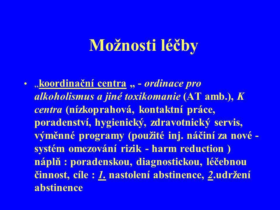 """Možnosti léčby """" koordinační centra """" - ordinace pro alkoholismus a jiné toxikomanie (AT amb.), K centra (nízkoprahová, kontaktní práce, poradenství,"""
