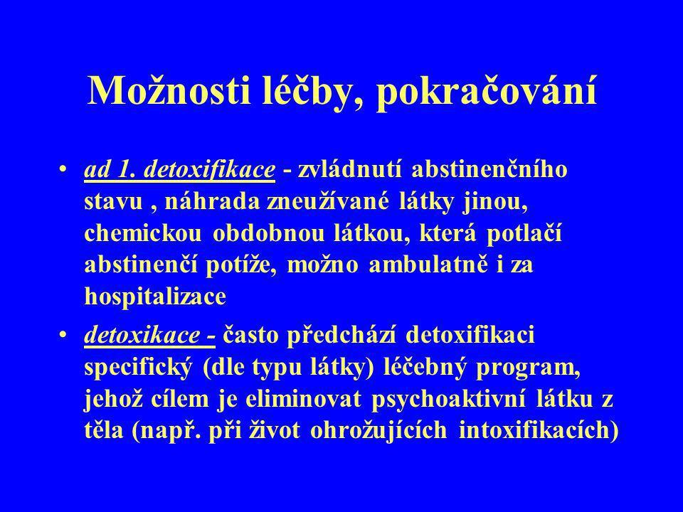 Možnosti léčby, pokračování ad 1. detoxifikace - zvládnutí abstinenčního stavu, náhrada zneužívané látky jinou, chemickou obdobnou látkou, která potla