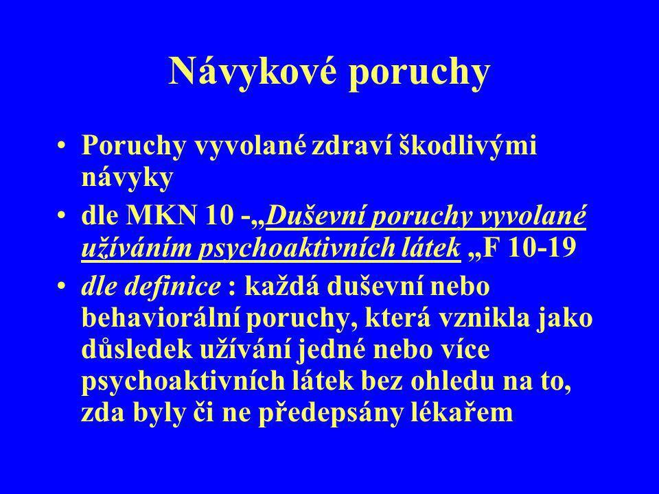 """Návykové poruchy Poruchy vyvolané zdraví škodlivými návyky dle MKN 10 -""""Duševní poruchy vyvolané užíváním psychoaktivních látek """"F 10-19 dle definice"""