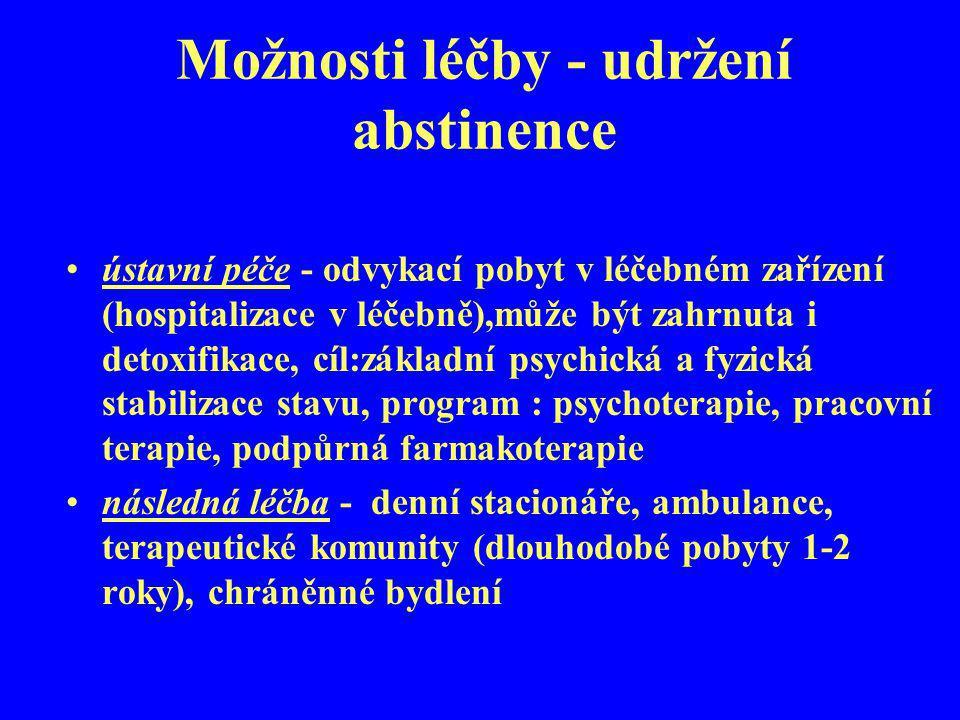 Možnosti léčby - udržení abstinence ústavní péče - odvykací pobyt v léčebném zařízení (hospitalizace v léčebně),může být zahrnuta i detoxifikace, cíl: