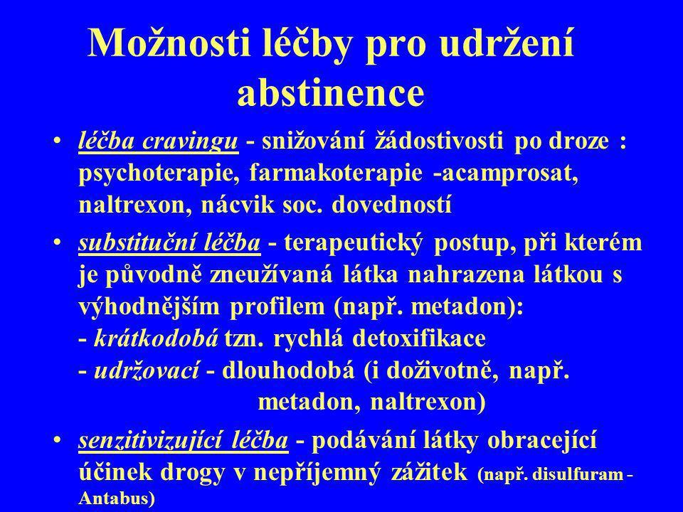 Možnosti léčby pro udržení abstinence léčba cravingu - snižování žádostivosti po droze : psychoterapie, farmakoterapie -acamprosat, naltrexon, nácvik