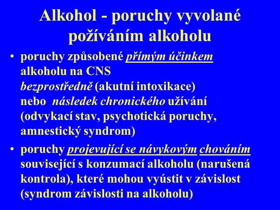 Alkohol - poruchy vyvolané požíváním alkoholu poruchy způsobené přímým účinkem alkoholu na CNS bezprostředně (akutní intoxikace) nebo následek chronic