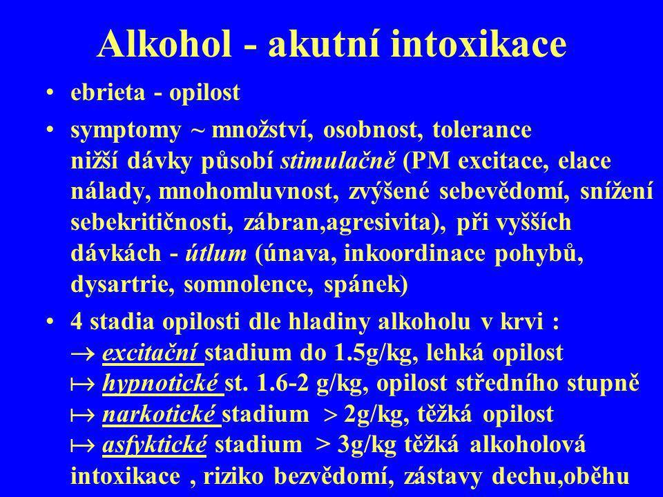 Alkohol - akutní intoxikace ebrieta - opilost symptomy ~ množství, osobnost, tolerance nižší dávky působí stimulačně (PM excitace, elace nálady, mnoho