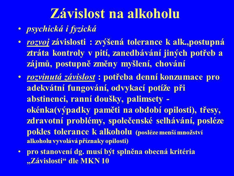 Závislost na alkoholu psychická i fyzická rozvoj závislosti : zvýšená tolerance k alk.,postupná ztráta kontroly v pití, zanedbávání jiných potřeb a zá