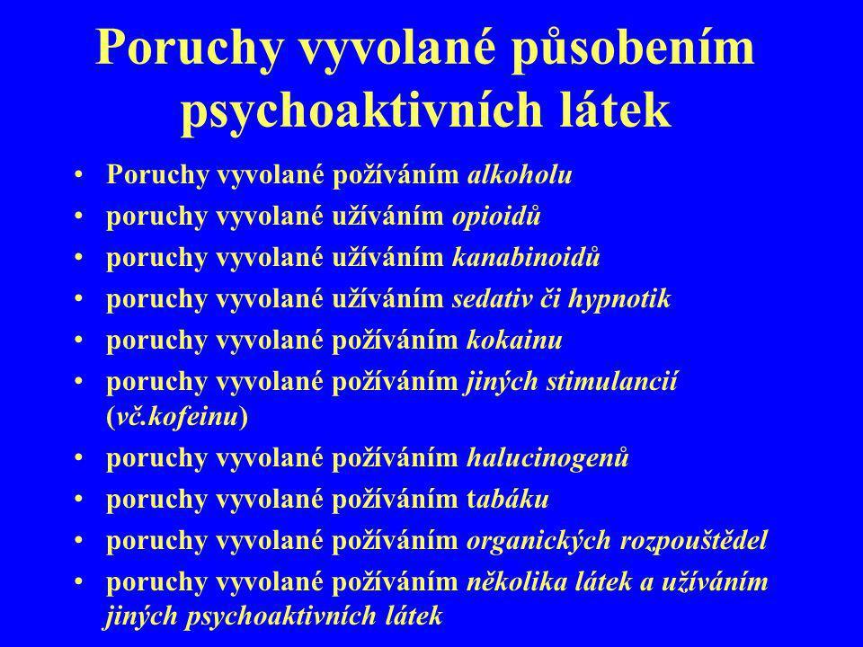 Poruchy vyvolané působením psychoaktivních látek Poruchy vyvolané požíváním alkoholu poruchy vyvolané užíváním opioidů poruchy vyvolané užíváním kanab