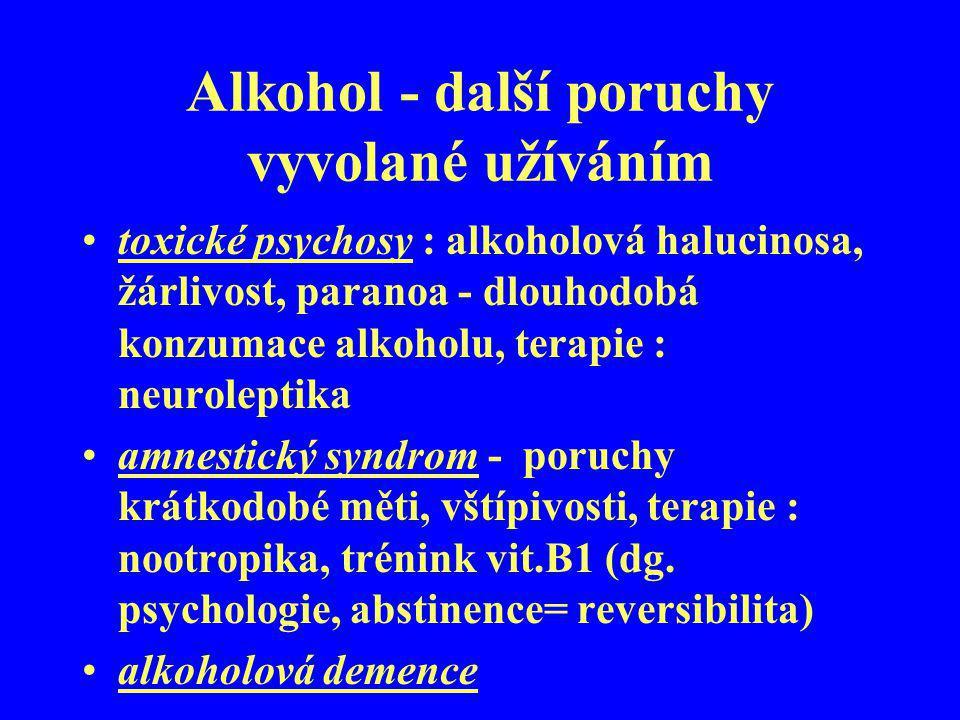 Alkohol - další poruchy vyvolané užíváním toxické psychosy : alkoholová halucinosa, žárlivost, paranoa - dlouhodobá konzumace alkoholu, terapie : neur