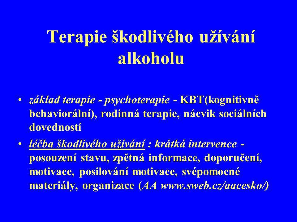 Terapie škodlivého užívání alkoholu základ terapie - psychoterapie - KBT(kognitivně behaviorální), rodinná terapie, nácvik sociálních dovedností léčba