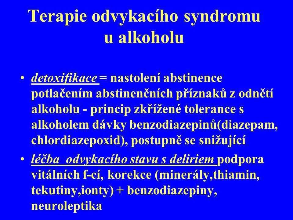 Terapie odvykacího syndromu u alkoholu detoxifikace = nastolení abstinence potlačením abstinenčních příznaků z odnětí alkoholu - princip zkřížené tole