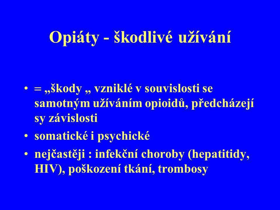 """Opiáty - škodlivé užívání  """"škody """" vzniklé v souvislosti se samotným užíváním opioidů, předcházejí sy závislosti somatické i psychické nejčastěji :"""