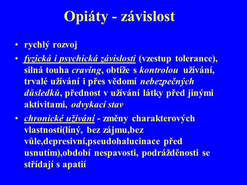 Opiáty - závislost rychlý rozvoj fyzická i psychická závislosti (vzestup tolerance), silná touha craving, obtíže s kontrolou užívání, trvalé užívání i