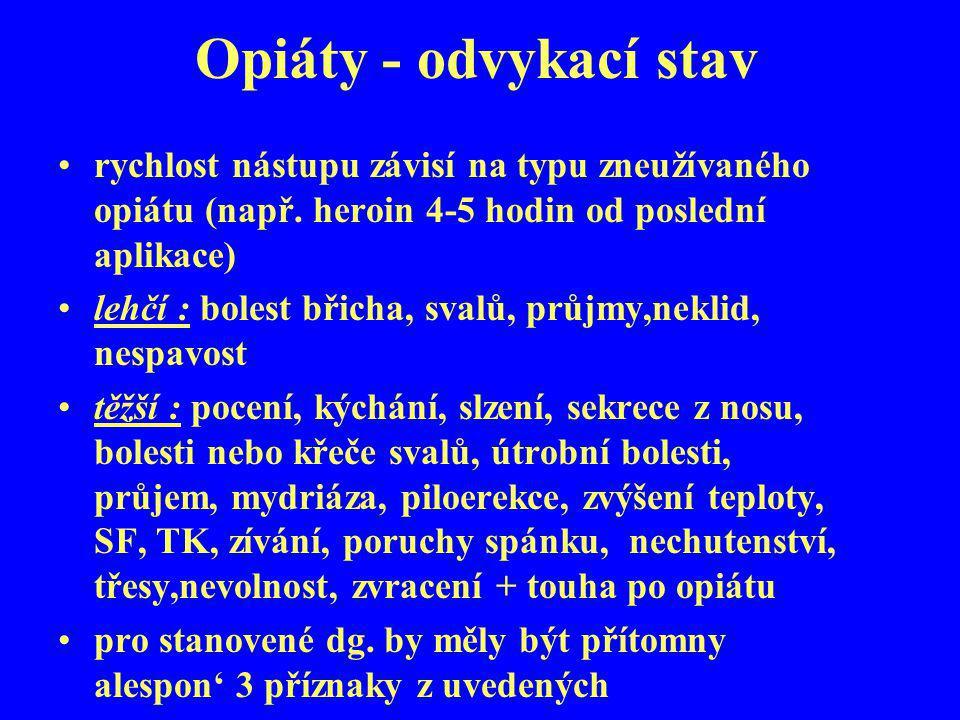 Opiáty - odvykací stav rychlost nástupu závisí na typu zneužívaného opiátu (např. heroin 4-5 hodin od poslední aplikace) lehčí : bolest břicha, svalů,