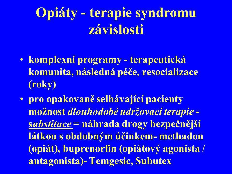 Opiáty - terapie syndromu závislosti komplexní programy - terapeutická komunita, následná péče, resocializace (roky) pro opakovaně selhávající pacient