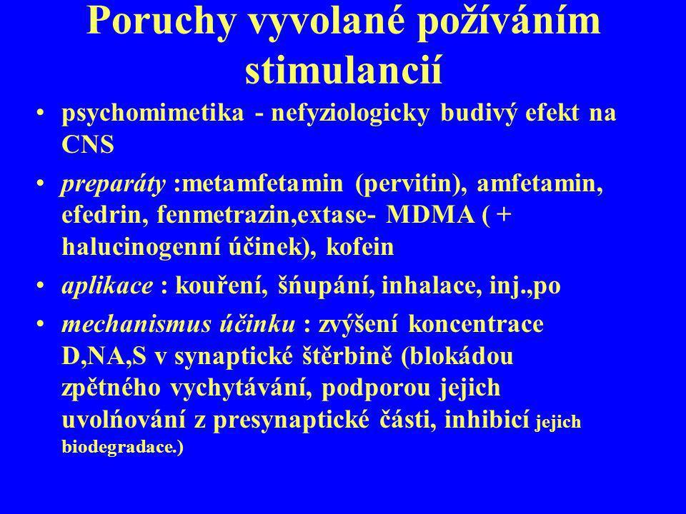 Poruchy vyvolané požíváním stimulancií psychomimetika - nefyziologicky budivý efekt na CNS preparáty :metamfetamin (pervitin), amfetamin, efedrin, fen