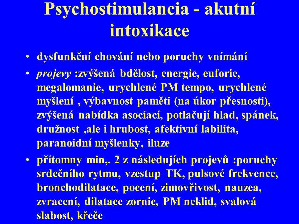 Psychostimulancia - akutní intoxikace dysfunkční chování nebo poruchy vnímání projevy :zvýšená bdělost, energie, euforie, megalomanie, urychlené PM te