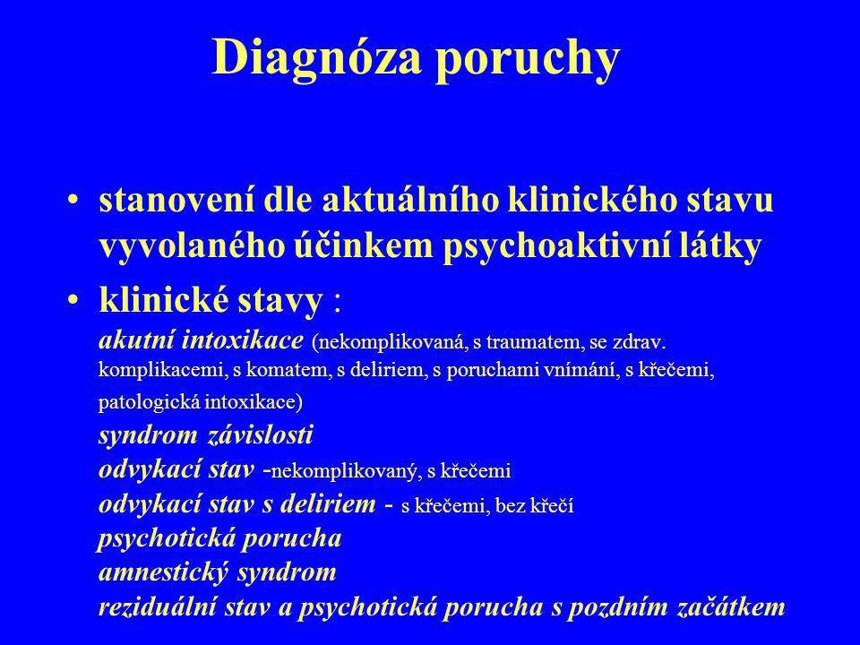 Diagnóza poruchy stanovení dle aktuálního klinického stavu vyvolaného účinkem psychoaktivní látky klinické stavy : akutní intoxikace (nekomplikovaná,