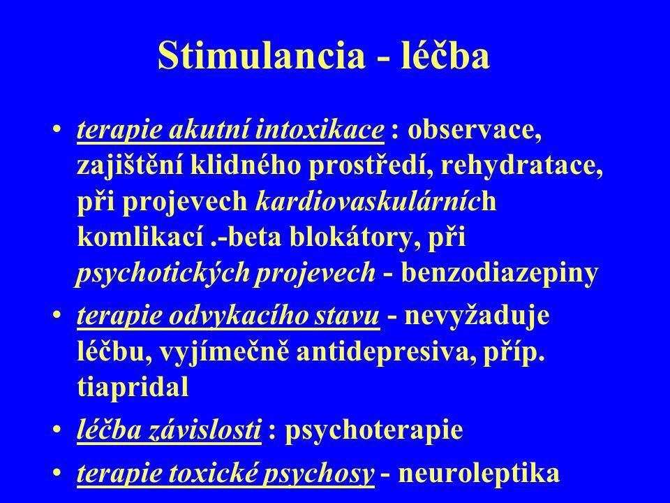 Stimulancia - léčba terapie akutní intoxikace : observace, zajištění klidného prostředí, rehydratace, při projevech kardiovaskulárních komlikací.-beta