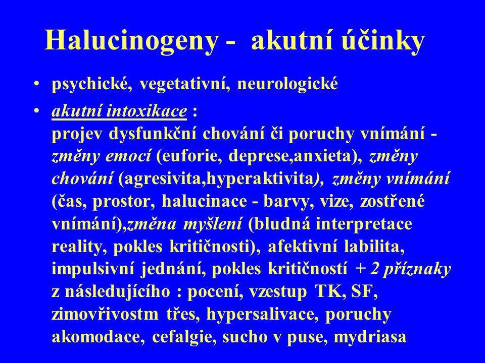 Halucinogeny - akutní účinky psychické, vegetativní, neurologické akutní intoxikace : projev dysfunkční chování či poruchy vnímání - změny emocí (eufo