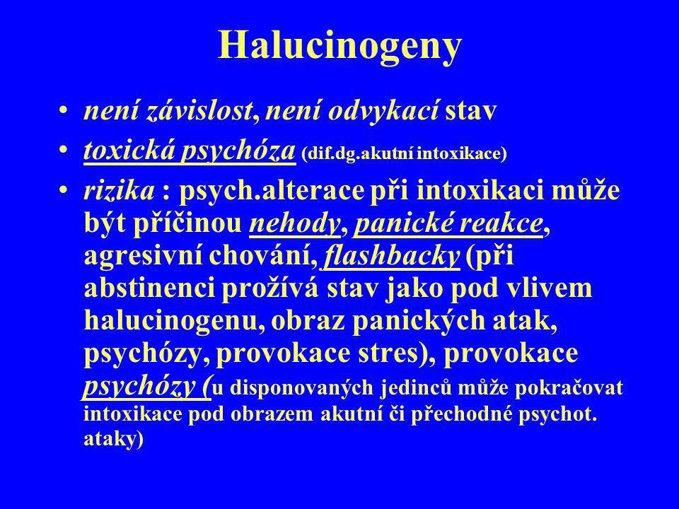 Halucinogeny není závislost, není odvykací stav toxická psychóza (dif.dg.akutní intoxikace) rizika : psych.alterace při intoxikaci může být příčinou n