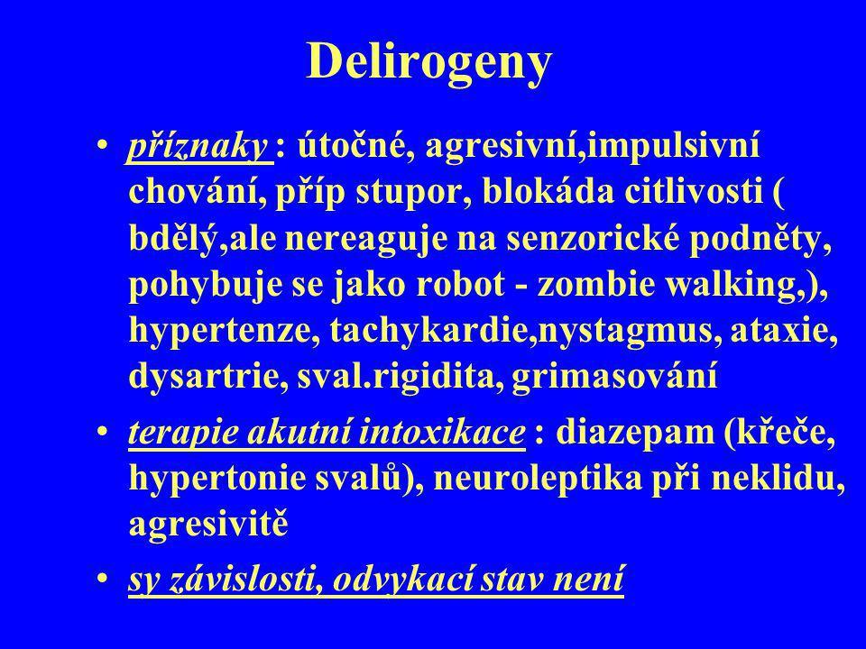 Delirogeny příznaky : útočné, agresivní,impulsivní chování, příp stupor, blokáda citlivosti ( bdělý,ale nereaguje na senzorické podněty, pohybuje se j