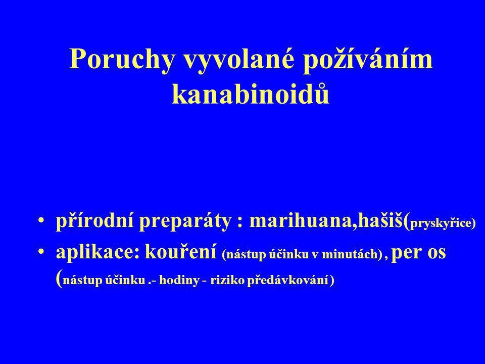 Poruchy vyvolané požíváním kanabinoidů přírodní preparáty : marihuana,hašiš( pryskyřice) aplikace: kouření (nástup účinku v minutách), per os ( nástup
