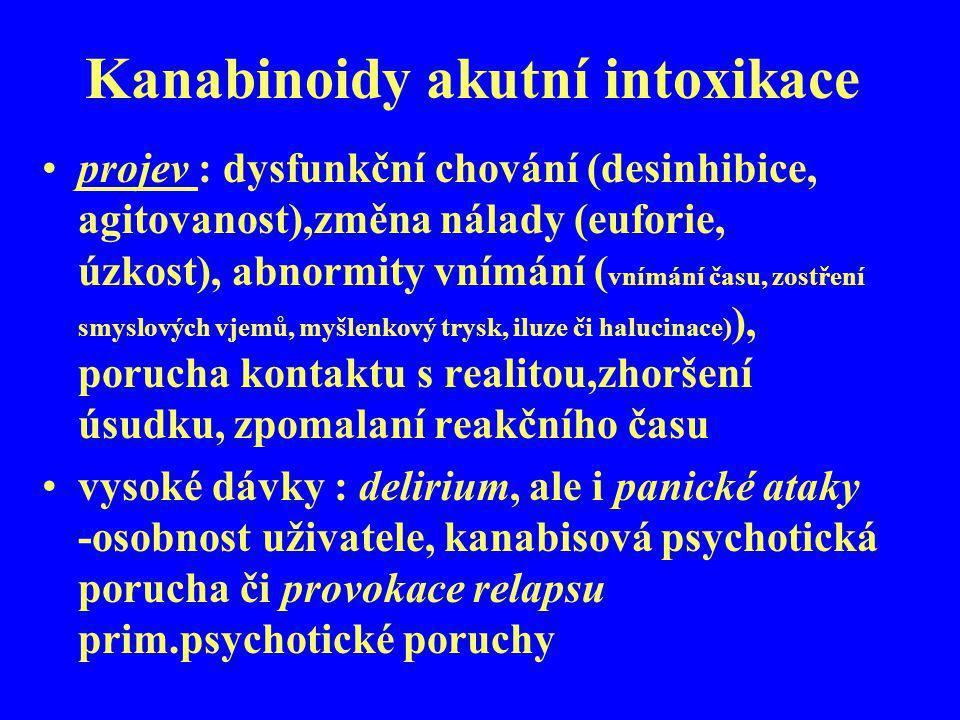 Kanabinoidy akutní intoxikace projev : dysfunkční chování (desinhibice, agitovanost),změna nálady (euforie, úzkost), abnormity vnímání ( vnímání času,