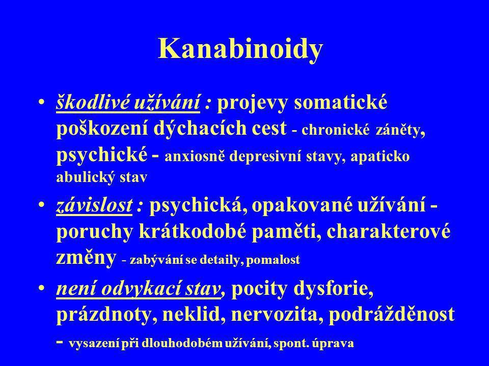 Kanabinoidy škodlivé užívání : projevy somatické poškození dýchacích cest - chronické záněty, psychické - anxiosně depresivní stavy, apaticko abulický