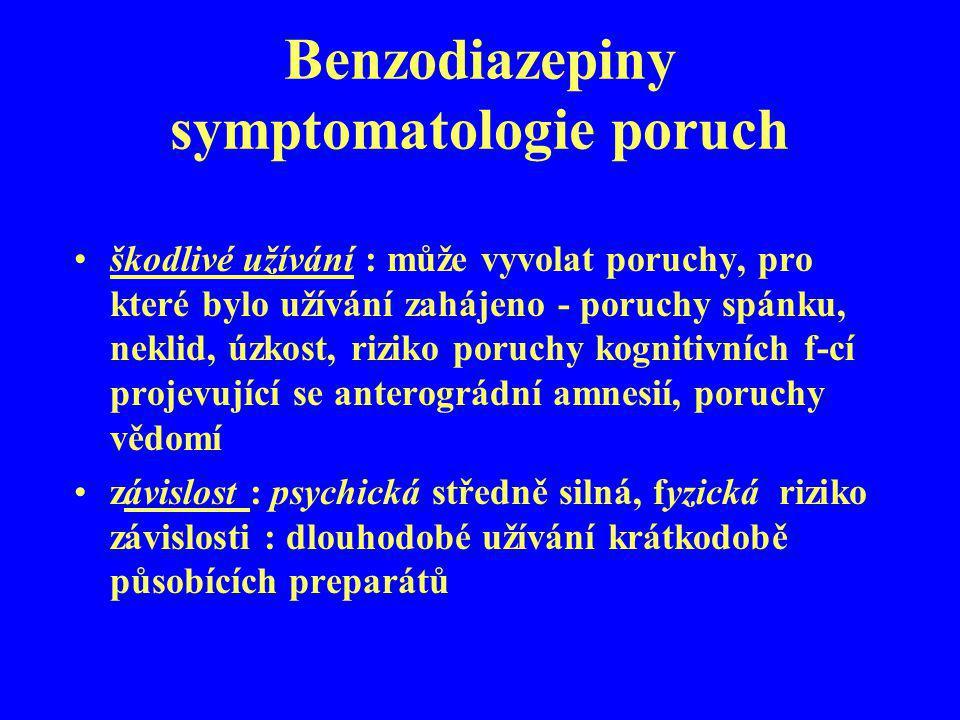 Benzodiazepiny symptomatologie poruch škodlivé užívání : může vyvolat poruchy, pro které bylo užívání zahájeno - poruchy spánku, neklid, úzkost, rizik