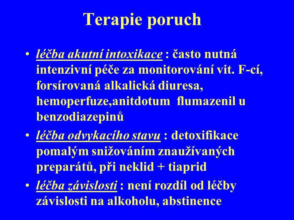 Terapie poruch léčba akutní intoxikace : často nutná intenzivní péče za monitorování vit. F-cí, forsírovaná alkalická diuresa, hemoperfuze,anitdotum f