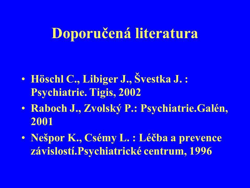 Doporučená literatura Höschl C., Libiger J., Švestka J. : Psychiatrie. Tigis, 2002 Raboch J., Zvolský P.: Psychiatrie.Galén, 2001 Nešpor K., Csémy L.
