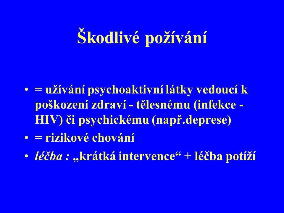 Škodlivé požívání = užívání psychoaktivní látky vedoucí k poškození zdraví - tělesnému (infekce - HIV) či psychickému (např.deprese) = rizikové chován