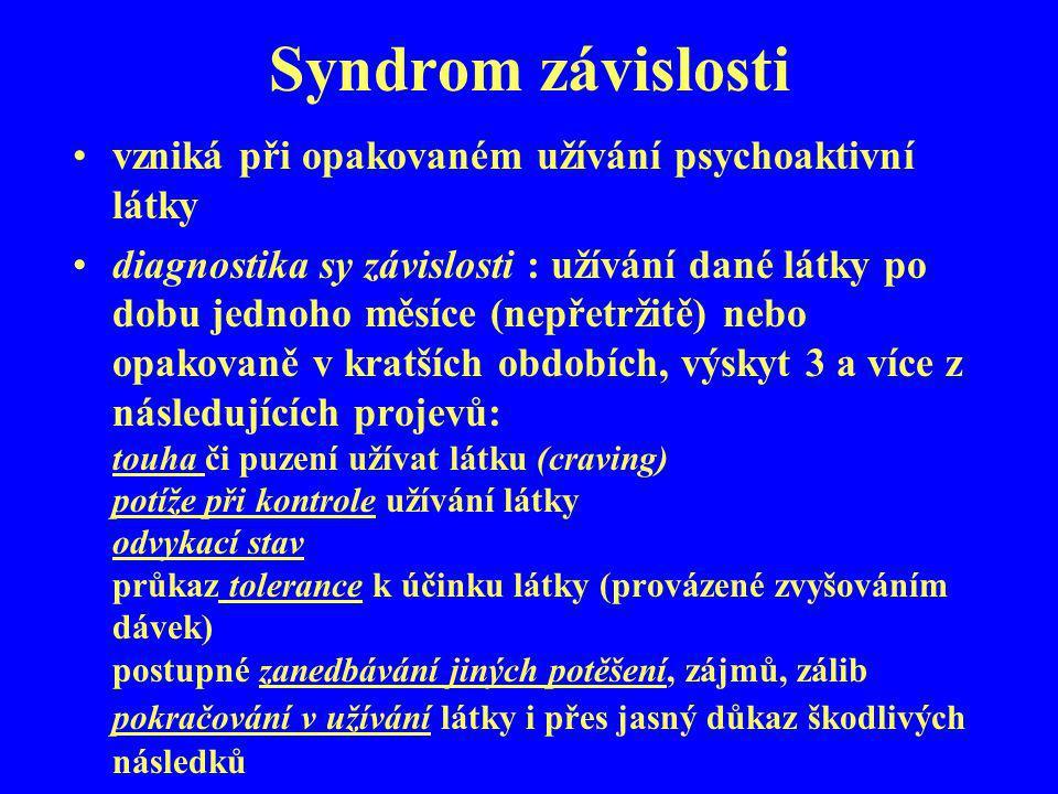 Syndrom závislosti vzniká při opakovaném užívání psychoaktivní látky diagnostika sy závislosti : užívání dané látky po dobu jednoho měsíce (nepřetržit