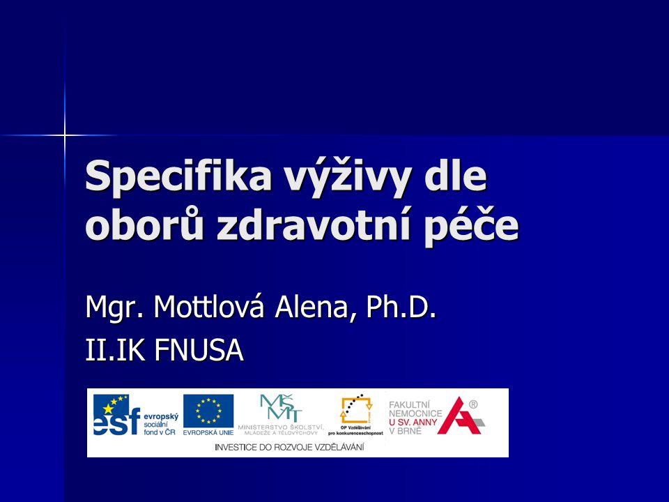 Specifika výživy dle oborů zdravotní péče Mgr. Mottlová Alena, Ph.D. II.IK FNUSA
