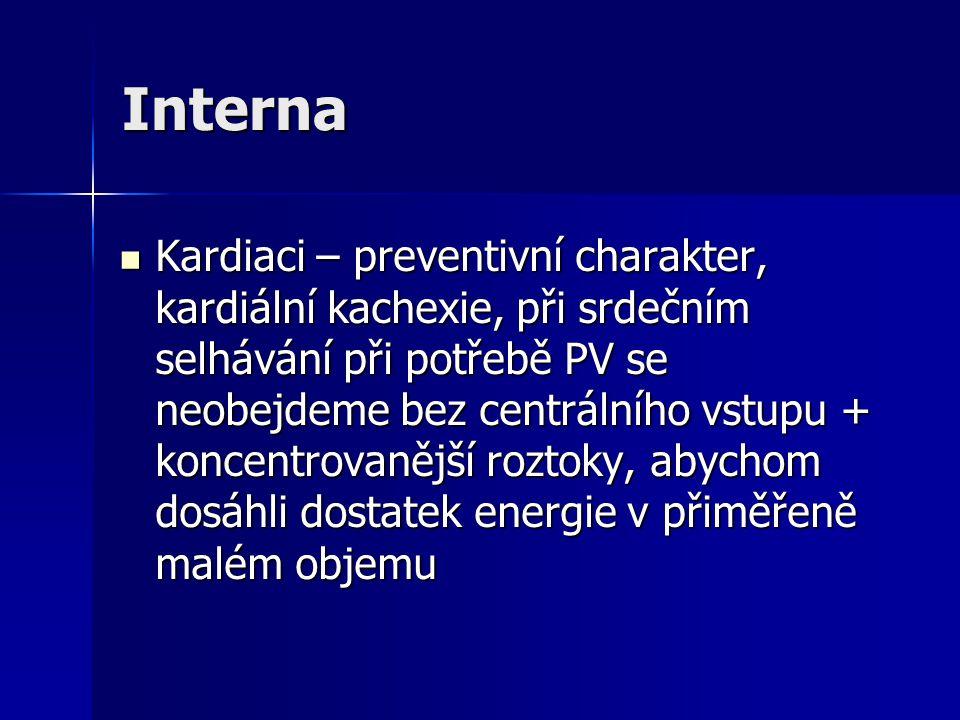 Interna Kardiaci – preventivní charakter, kardiální kachexie, při srdečním selhávání při potřebě PV se neobejdeme bez centrálního vstupu + koncentrova