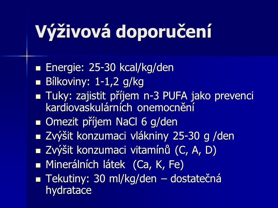 Výživová doporučení Energie: 25-30 kcal/kg/den Energie: 25-30 kcal/kg/den Bílkoviny: 1-1,2 g/kg Bílkoviny: 1-1,2 g/kg Tuky: zajistit příjem n-3 PUFA j